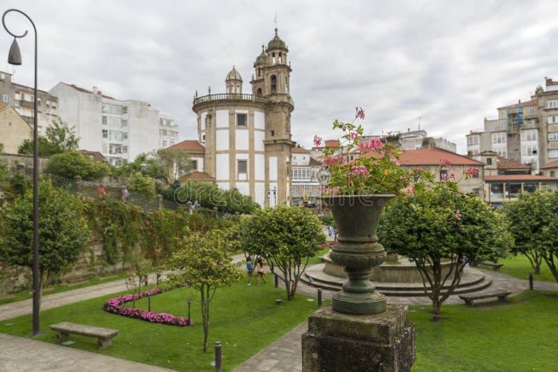 Pontevedra. Peregrina Church at Pontevedra city. Selective focus on the foreground amphora royalty free stock photo
