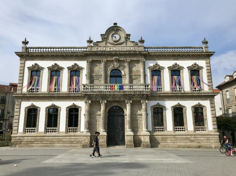 Pontevedra, Pontevedra / Spain - July 6 2018: Front view of the Casa Consistorial town hall of the city of Pontevedra in Galicia stock photography