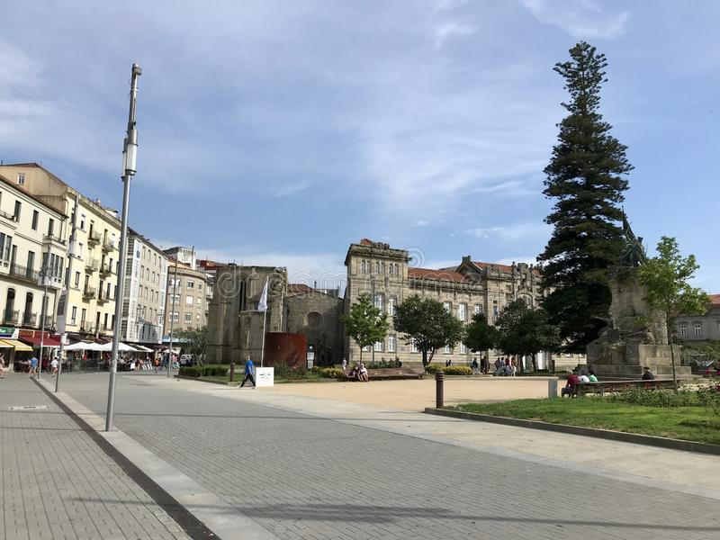 Pontevedra, Pontevedra / Spain - July 6 2018: View of the ruins of the ancient convent of Santo Domingo in the city of Pontevedra royalty free stock photos