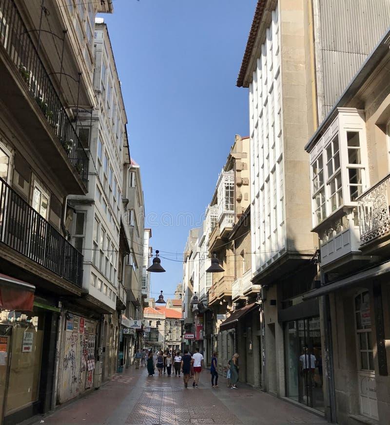 Pontevedra, Pontevedra / Spain - August 24 2018: View of the Calle de la Oliva street in the city center of Pontevedra in Spain royalty free stock image