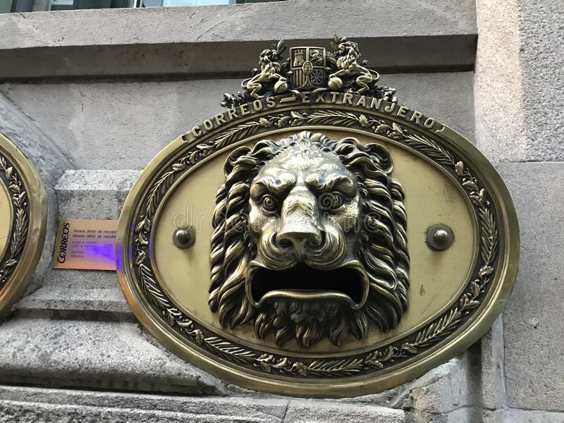Pontevedra, Pontevedra / Spain - August 24 2018: View of a lion shapped mailbox on the exterior of the post office of Correos in stock photos