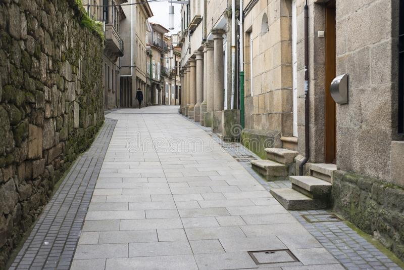 Streets of the historic quarter of the city of Pontevedra Spain. PONTEVEDRA, SPAIN - JANUARY 19, 2016: One of the streets of the historic quarter of the city royalty free stock photography