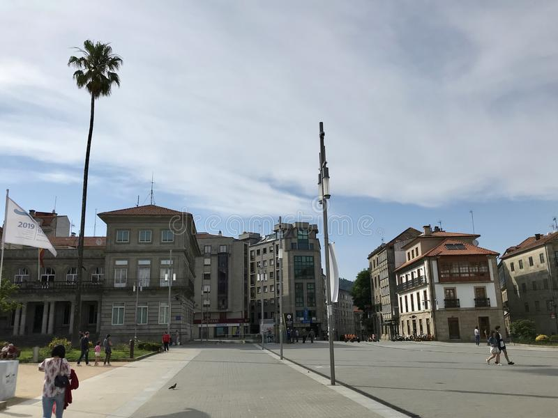 Pontevedra, Pontevedra / Spain - July 6 2018: View of the center of the city of Pontevedra in Galicia during a day of summer royalty free stock images