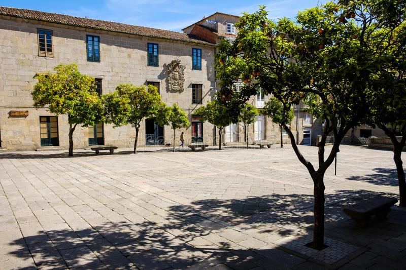 Praza do Teucro Pontevedra. Pontevedra , Spain - May 12, 2019: Calm morning in the historical and wonderful streets of the Spanish city, Pontevedra, Spain royalty free stock photos