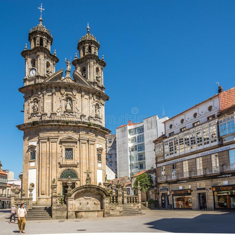 View at the  Church of Virgin Mary in Pontevedra - Spain stock images