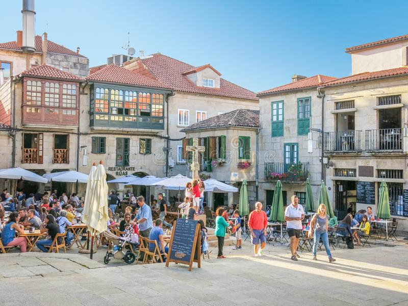 Pontevedra in a summer afternoon, Galicia, northern Spain,. Pontevedra is a Spanish city in the northwest of the Iberian Peninsula. It is the capital of both the royalty free stock images