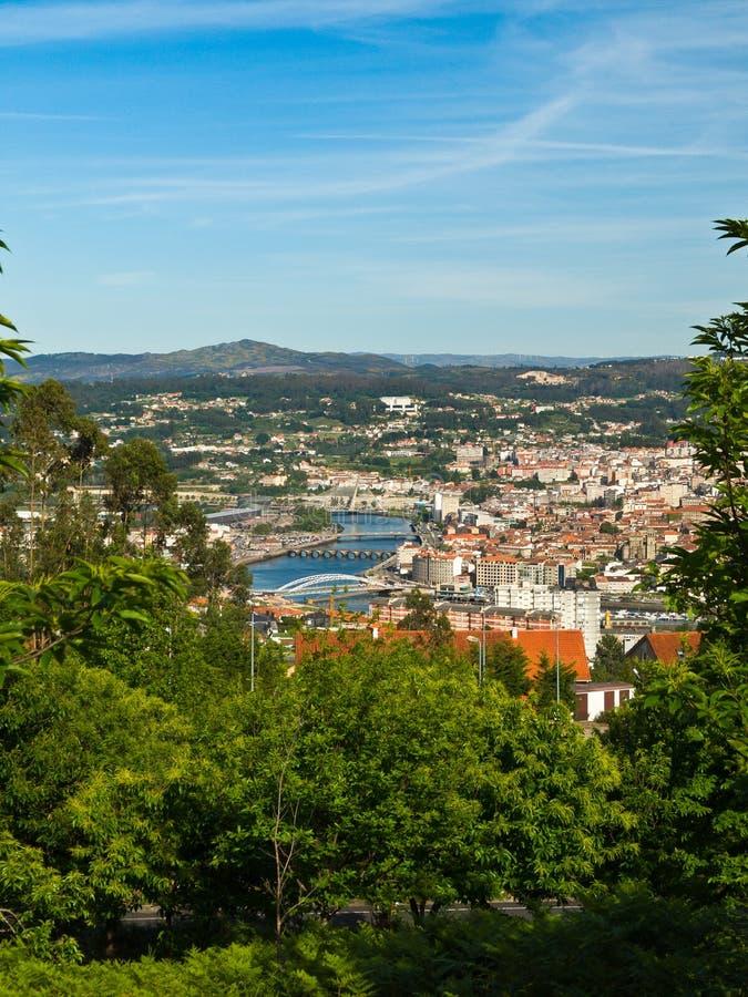 Pontevedra stad en rivier Lerez royalty-vrije stock foto's