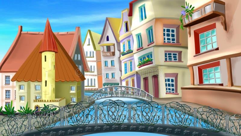 Ponti e vie di Parigi illustrazione di stock