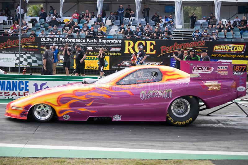 Supercharged Outlaws Category 2018 Winternationals Ipswich Australia. A Pontiac funny car at the starting line during the celebration of the 2018 Gulf western royalty free stock photos