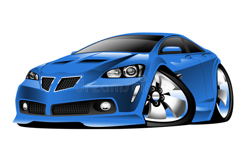 Modern American Muscle Car Cartoon Illustration royalty free illustration