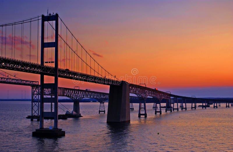 Ponticello della baia di Chesapeake all'alba fotografia stock