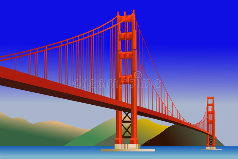 Ponticello di cancello dorato a San Francisco illustrazione di stock