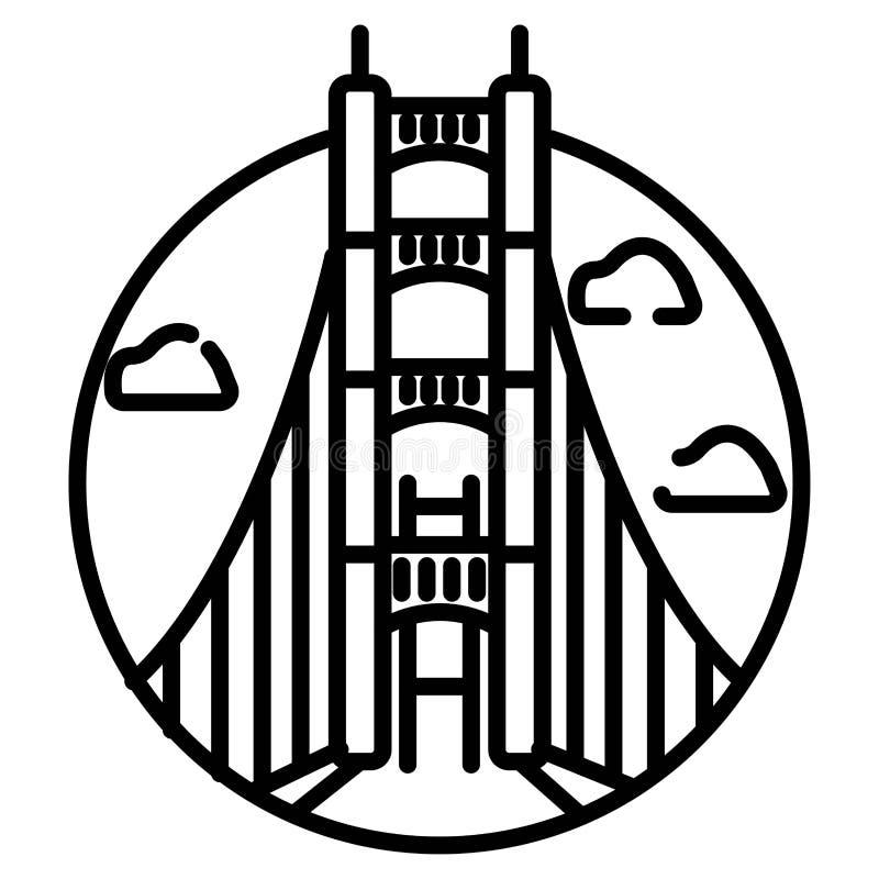 Ponticello di cancello dorato, San Francisco, S Isolato sull'illustrazione bianca di vettore del fondo illustrazione vettoriale