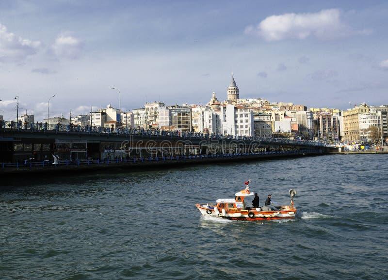 Ponticello di Galata e torretta Costantinopoli di galata fotografia stock