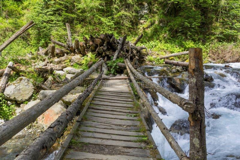 Ponticello di legno sopra il flusso della montagna fotografia stock