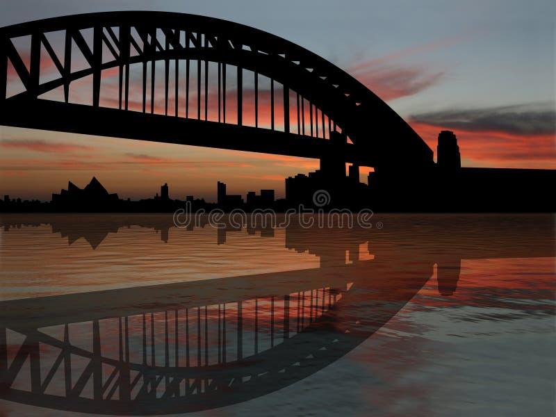 Ponticello di porto di Sydney al tramonto royalty illustrazione gratis
