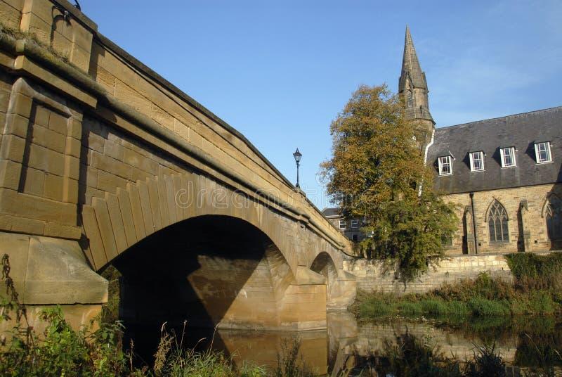 Ponticello di Telford ed il fiume Wansbeck, Morpeth fotografia stock libera da diritti