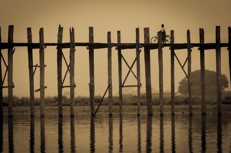 Ponticello di U Bein, Myanmar immagine stock