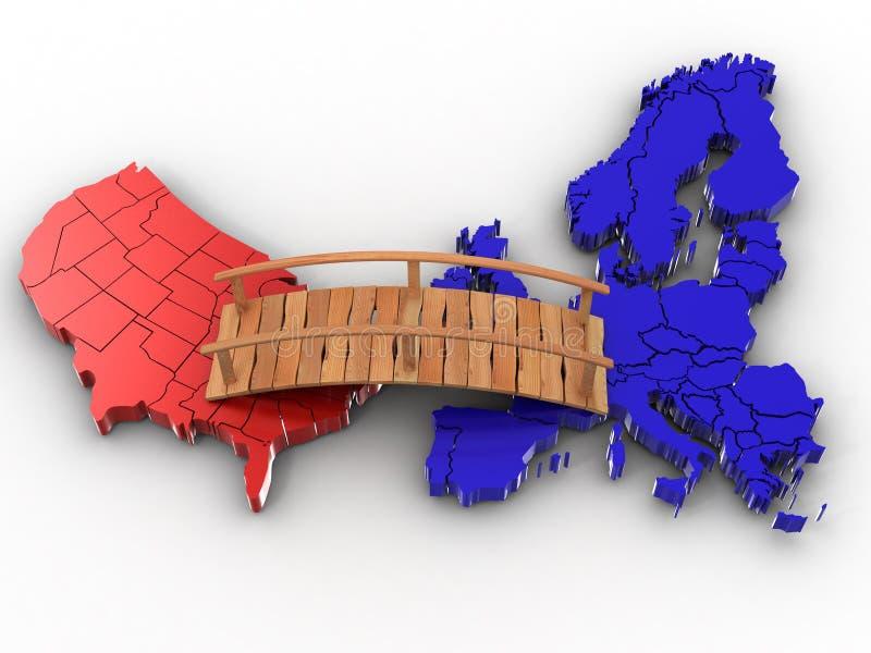 Ponticello fra Europa e gli S.U.A. illustrazione vettoriale
