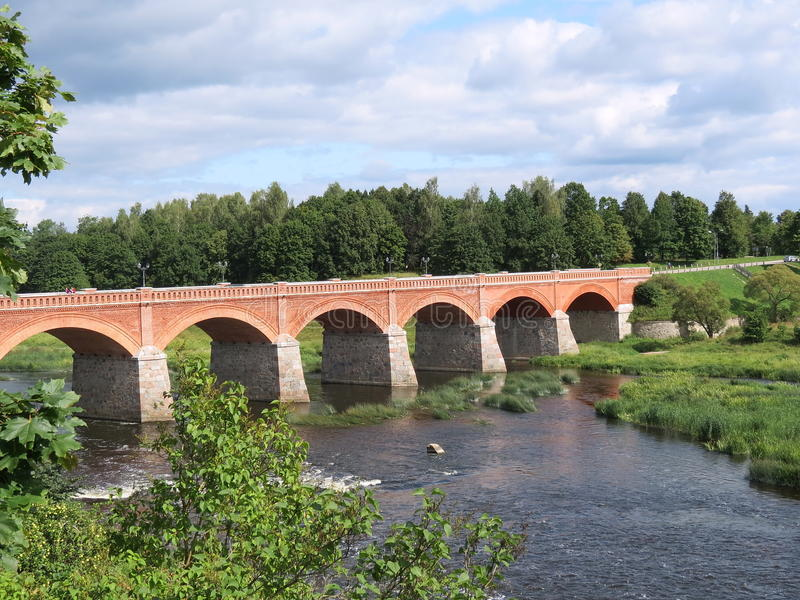 Ponticello in Kuldiga, Latvia fotografie stock libere da diritti