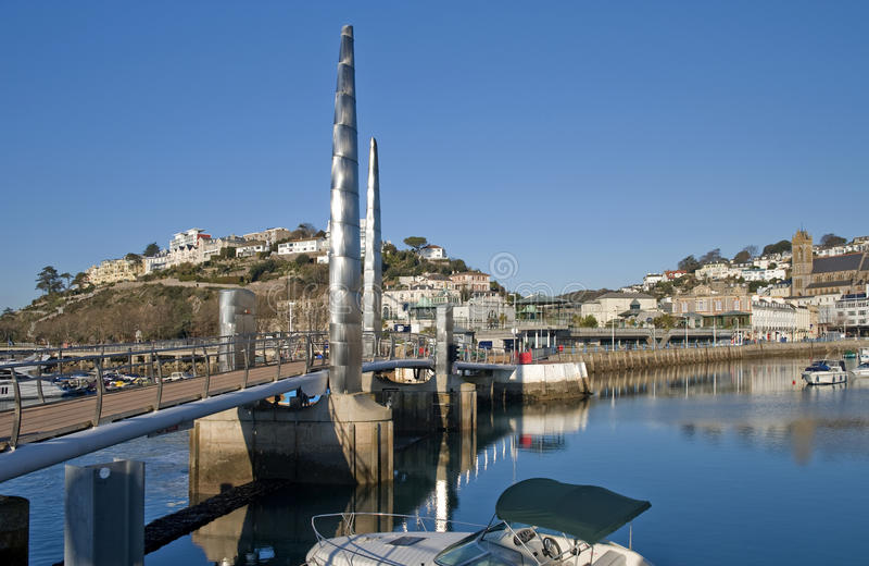 Ponticello pedonale, porto interno di Torquay fotografie stock libere da diritti