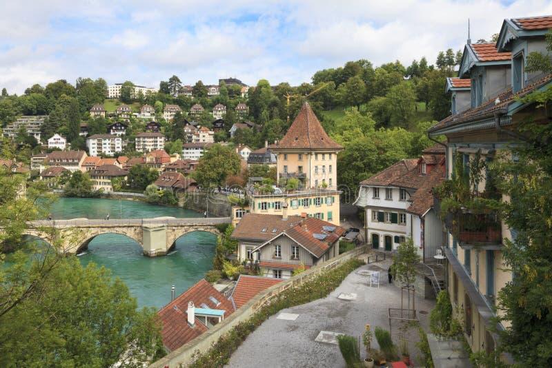 Ponticello sopra il fiume di Aare a Berna, Svizzera fotografia stock