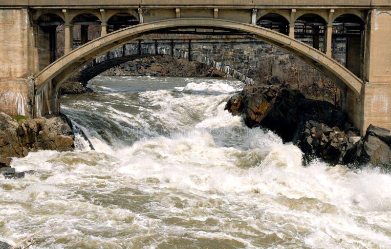 Ponticello sopra le acque disturbate immagini stock libere da diritti