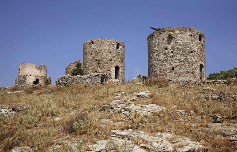 Pontikokastro - mysz kasztel w Ano Symi Grecja zdjęcie stock