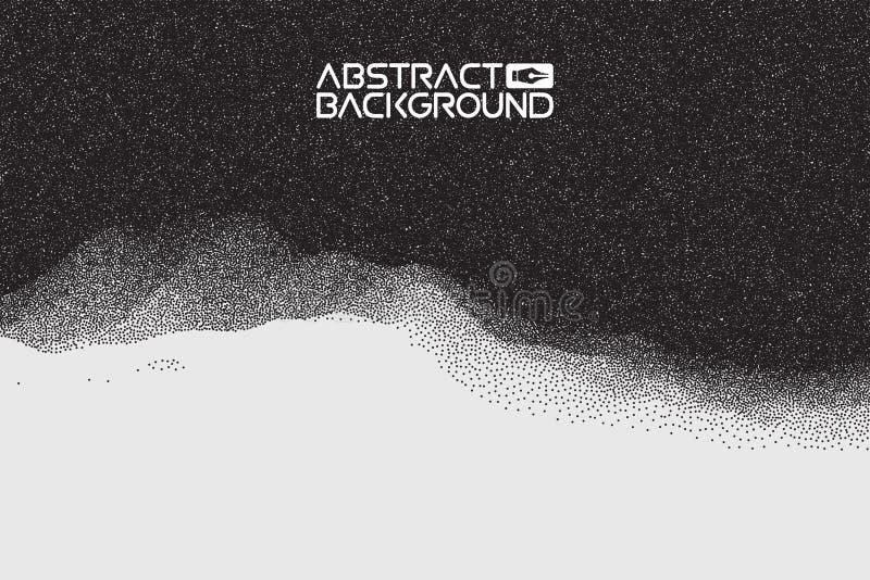 Pontilhar a textura do inclinação, reticulação, arte do vetor do ponto fundo do sumário da paisagem 3D Ilustração do vetor do inc ilustração stock