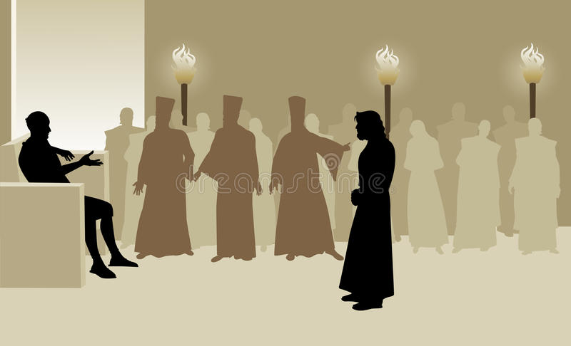 Pontius Pilate en Jesus royalty-vrije illustratie