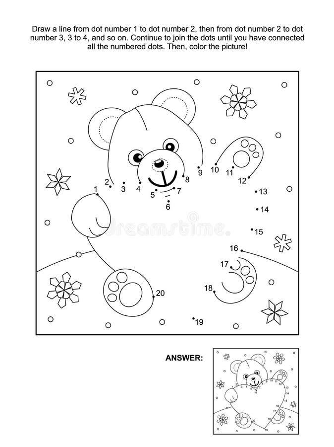 Ponto-à-ponto do dia do ` s do Valentim e página da coloração com urso e coração de peluche ilustração do vetor
