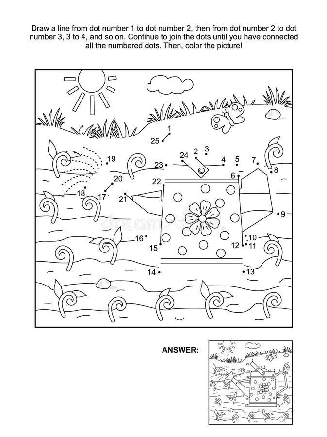 Ponto-à-ponto e página da coloração com lata molhando ilustração stock