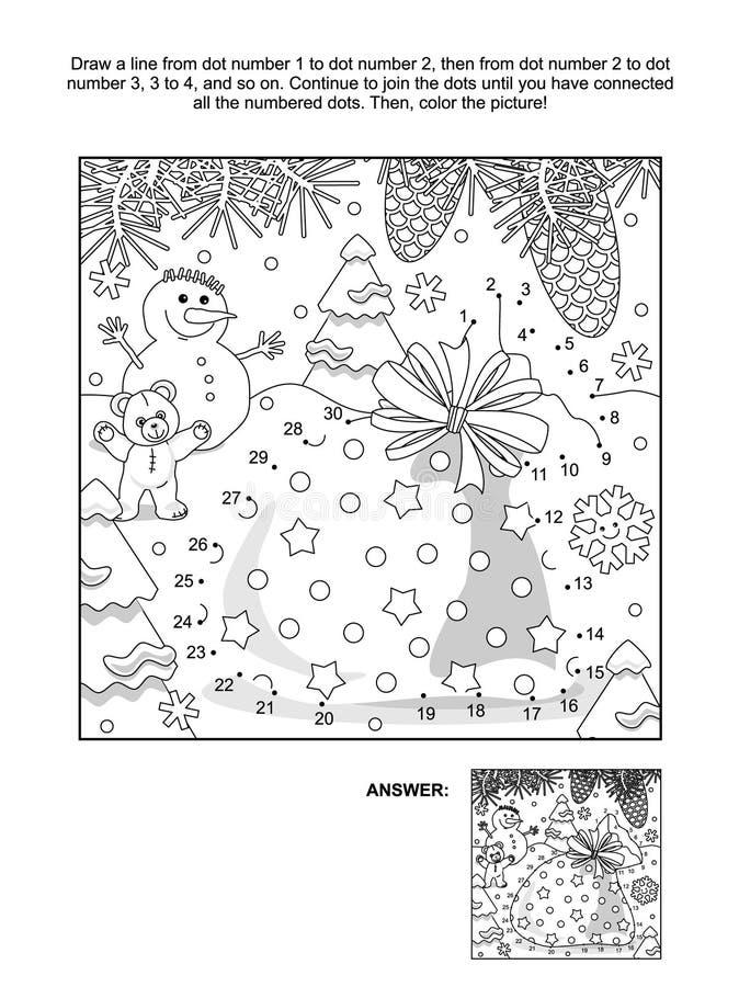 Ponto-à-ponto e página da coloração com o saco do ` s de Santa ilustração do vetor