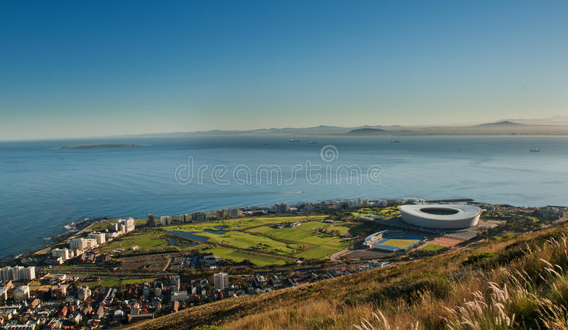 Ponto África do Sul do verde do estádio de Capetown imagem de stock royalty free