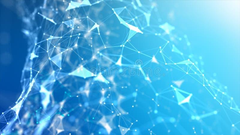 Ponto abstrato do fundo e para conectar a linha para a tecnologia do cyber futurista e o conceito da conexão de rede com a obscur imagem de stock royalty free