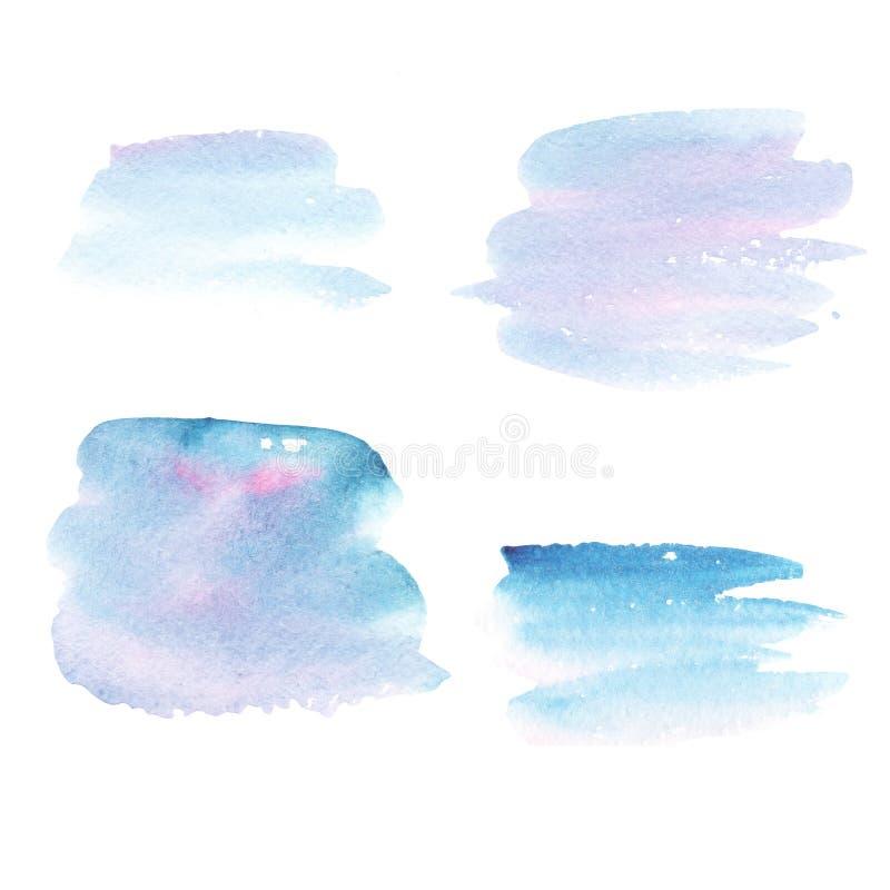 Ponto abstrato e pinceladas do fundo azul da aquarela foto de stock royalty free