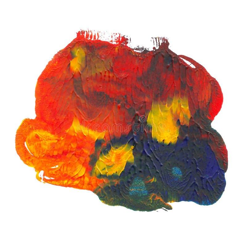 Ponto acrílico abstrato isolado no fundo branco Cor vibrante vermelha, alaranjada, azul, amarela ilustração stock
