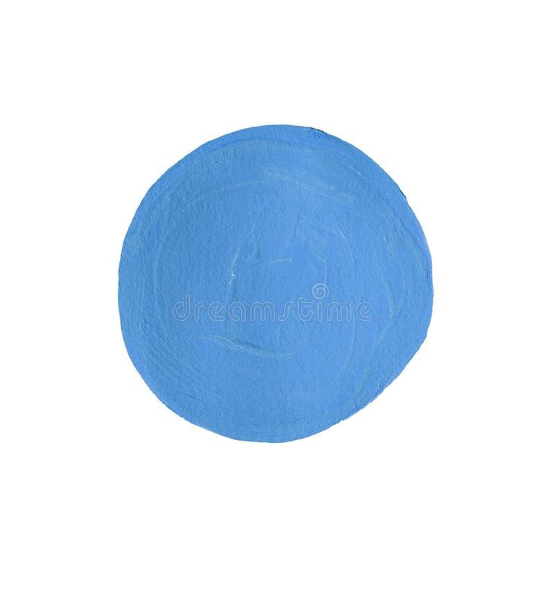 Ponto azul redondo da pintura isolado no branco imagem de stock
