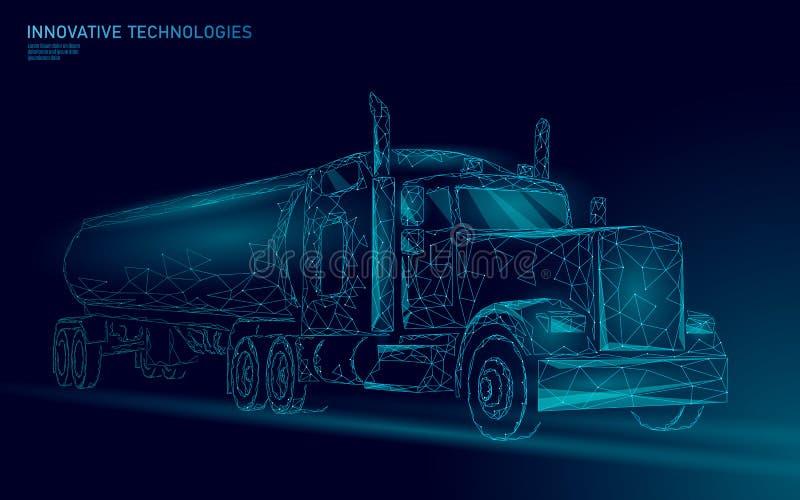Ponto baixo americano do caminhão poli Reboque logístico do negócio do transporte Veículo pesado grande da entrega da carga da in ilustração do vetor