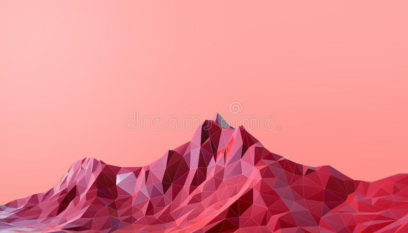 Ponto baixo geométrico da arte da paisagem da montanha poli com fundo vermelho colorido ilustração do vetor