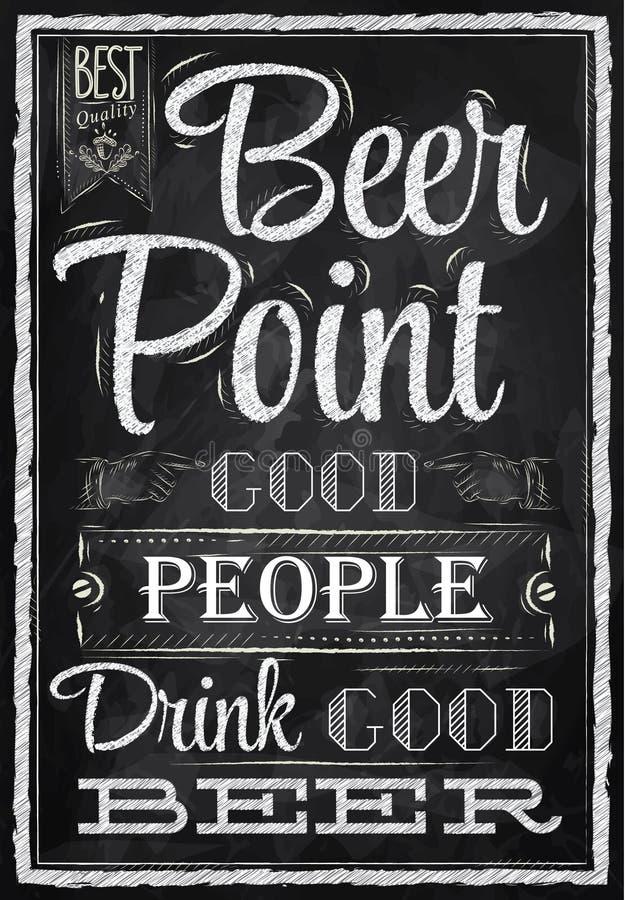 Ponto da cerveja da rotulação do cartaz. Giz. ilustração stock