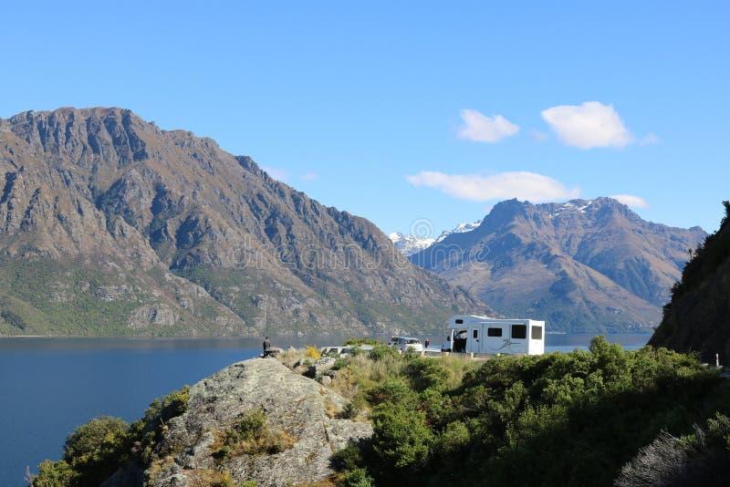 Ponto da vigia da escadaria do ` s do diabo no lago Wakatipu fotografia de stock royalty free