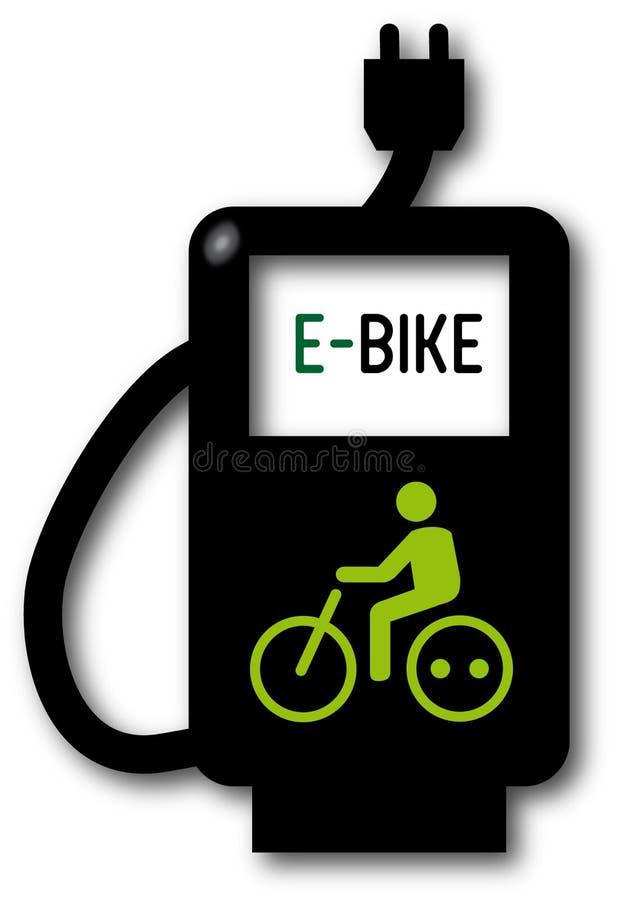 Ponto de carregamento, bicicleta elétrica ilustração royalty free