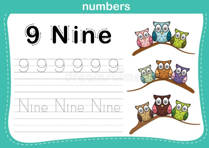 Ponto de conexão e exercício imprimível dos números ilustração royalty free