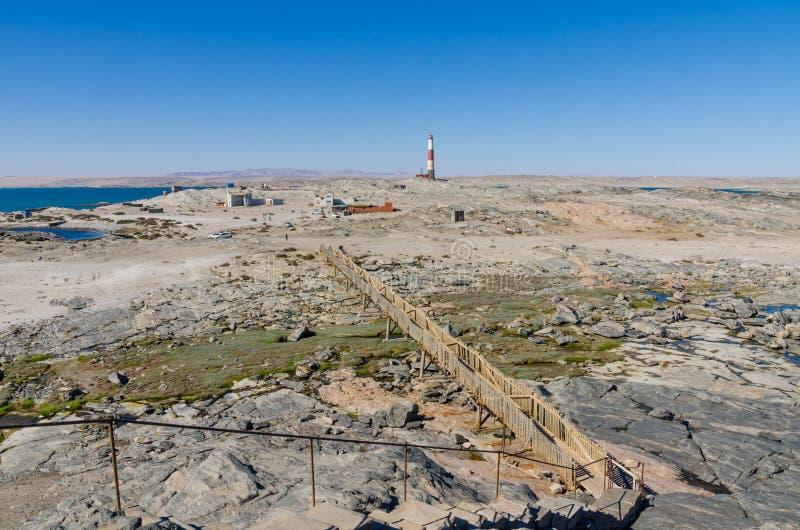 Ponto de Díaz com passagem e o farol de madeira na península de Luderitz no deserto de Namib, Namíbia, África meridional imagem de stock