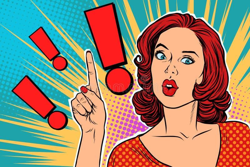 Ponto de exclamação e mulher surpreendida do pop art ilustração royalty free
