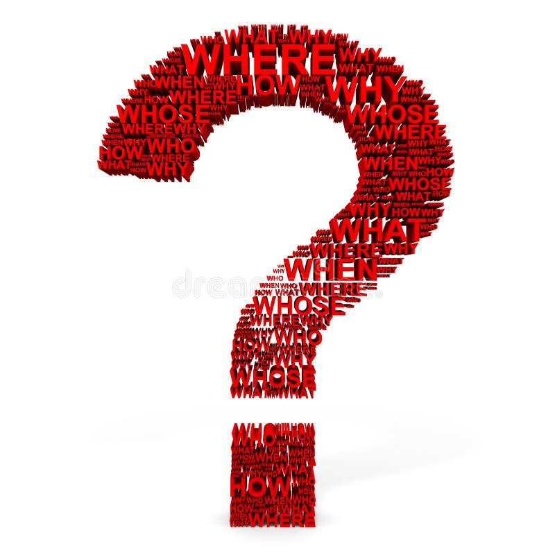 ponto de interrogação 3D vermelho das perguntas. ilustração do vetor