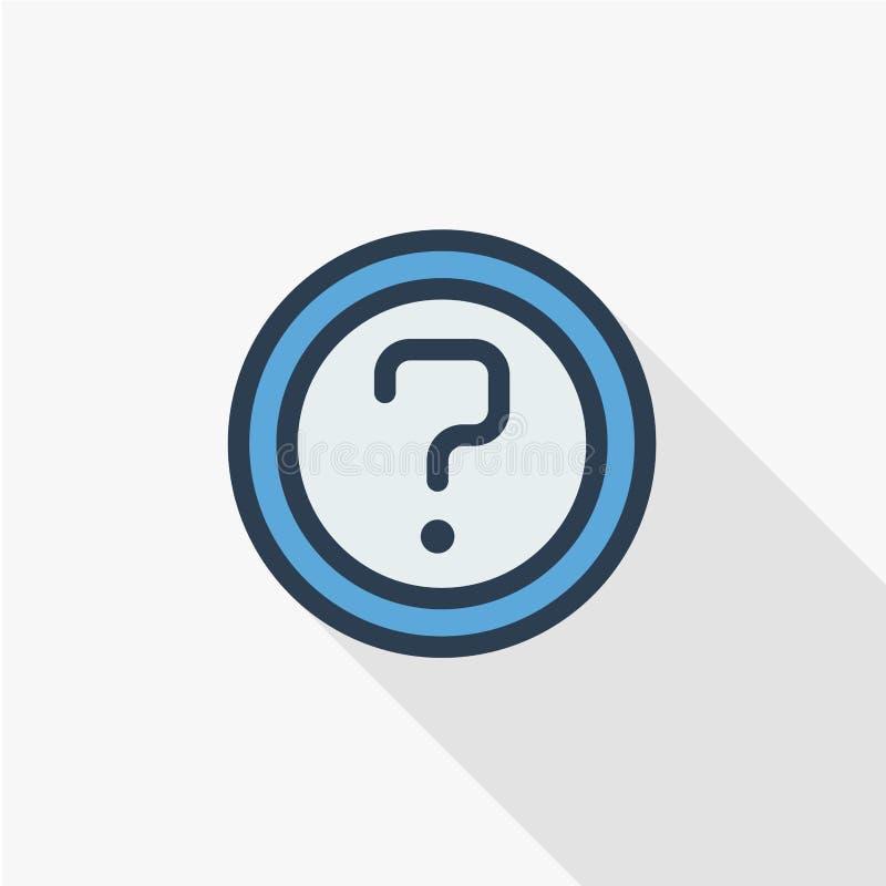 Ponto de interrogação, botão do FAQ Peça o selo da ajuda Informação da necessidade Linha fina ícone liso da pergunta da cor Símbo ilustração do vetor