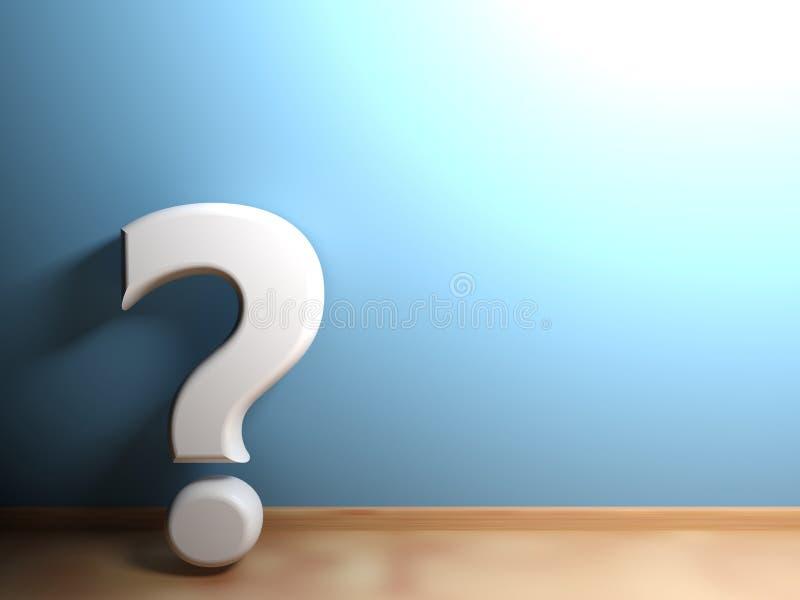 Ponto de interrogação branco que inclina-se na parede azul - rendição 3D ilustração do vetor