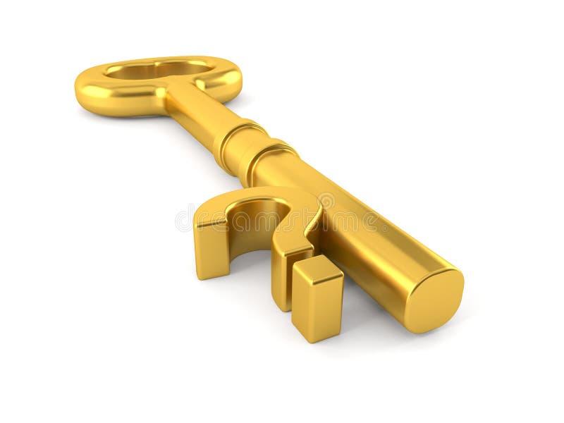 Ponto de interrogação com chave dourada ilustração royalty free